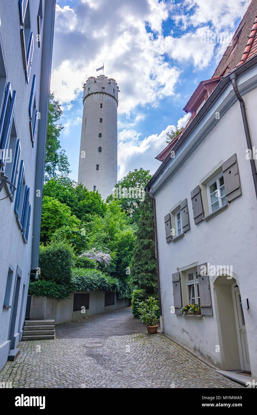 Der Mehlsack Tower in Ravensburg, Baden-Württemberg, Oberschwaben, Deutschland. Stockbild