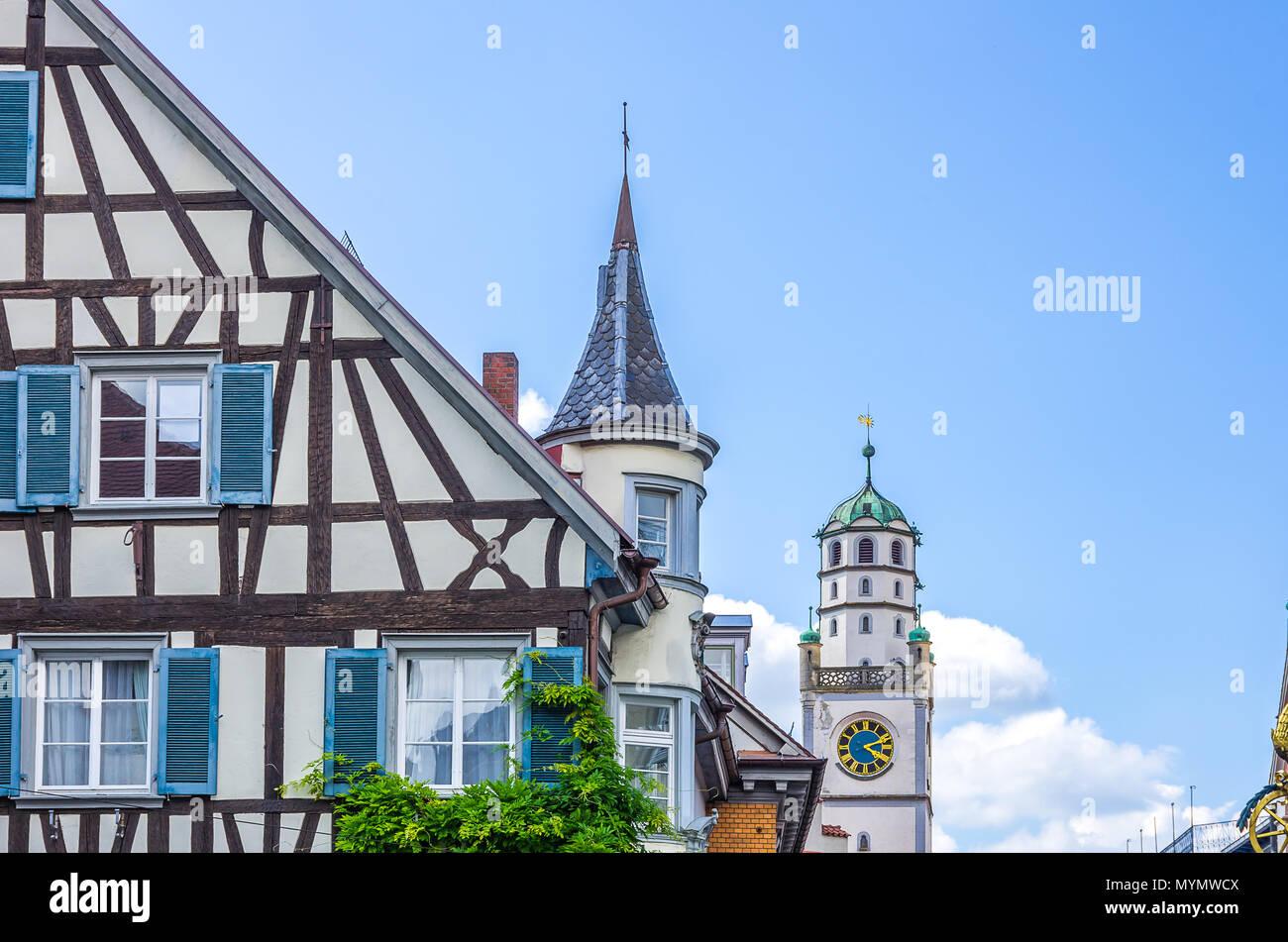Ravensburg, Baden-Württemberg, Oberschwaben, Deutschland - Stadt der Türme und Türmen. Stockbild