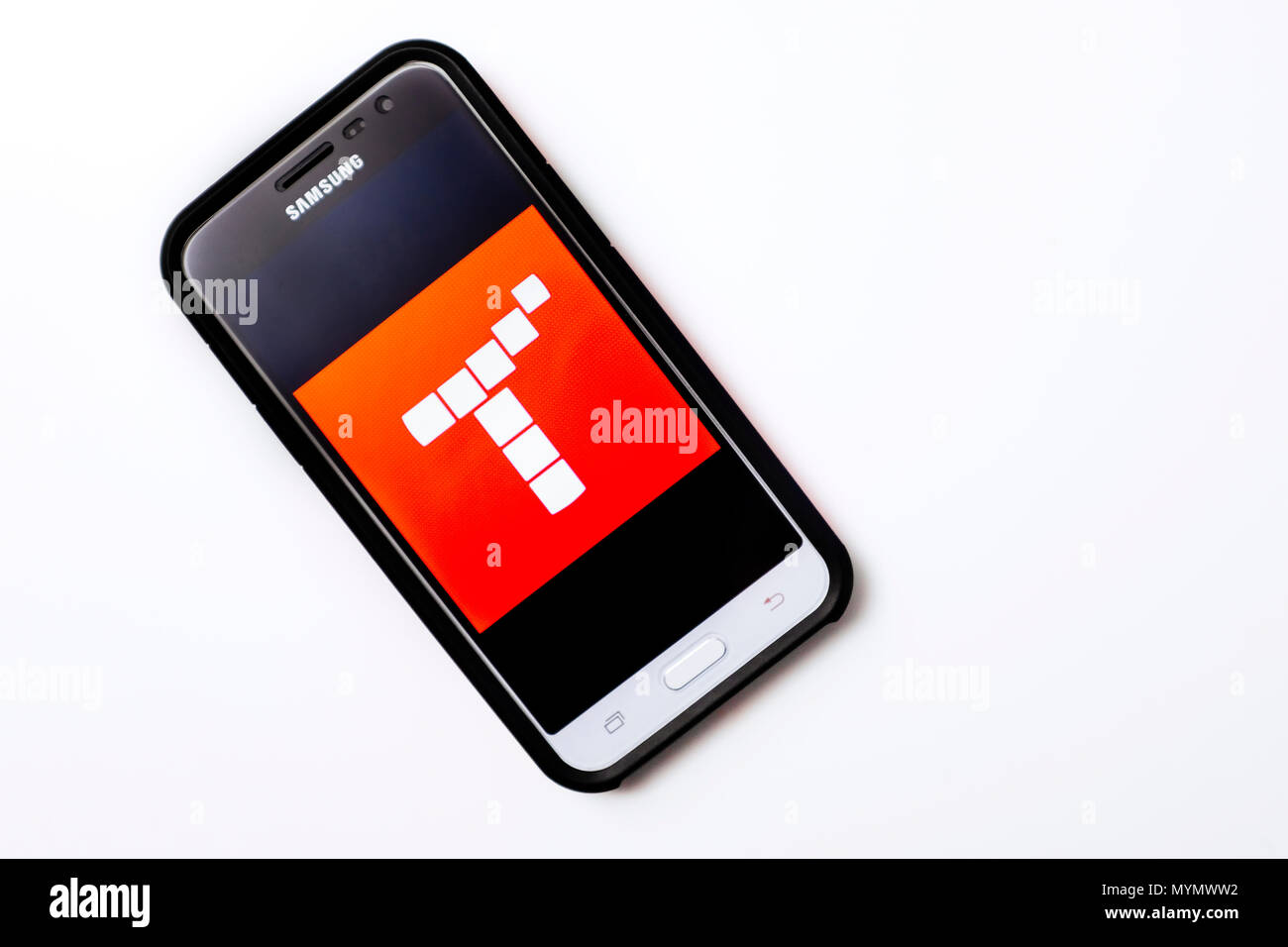 Illustrative Editorial Bild eines Samsung Smartphone mit dem Tynker App Logo auf dem Bildschirm angezeigt. Stockbild