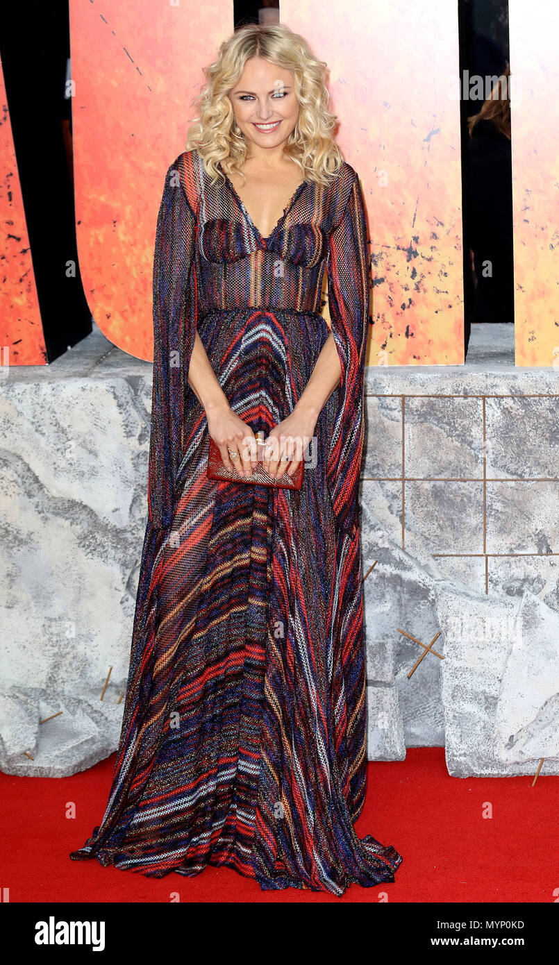 April 11, 2018 - Malin Akerman Teilnahme an Rampage europäische Premiere im Cineworld Leicester Square in London, England, Großbritannien Stockbild