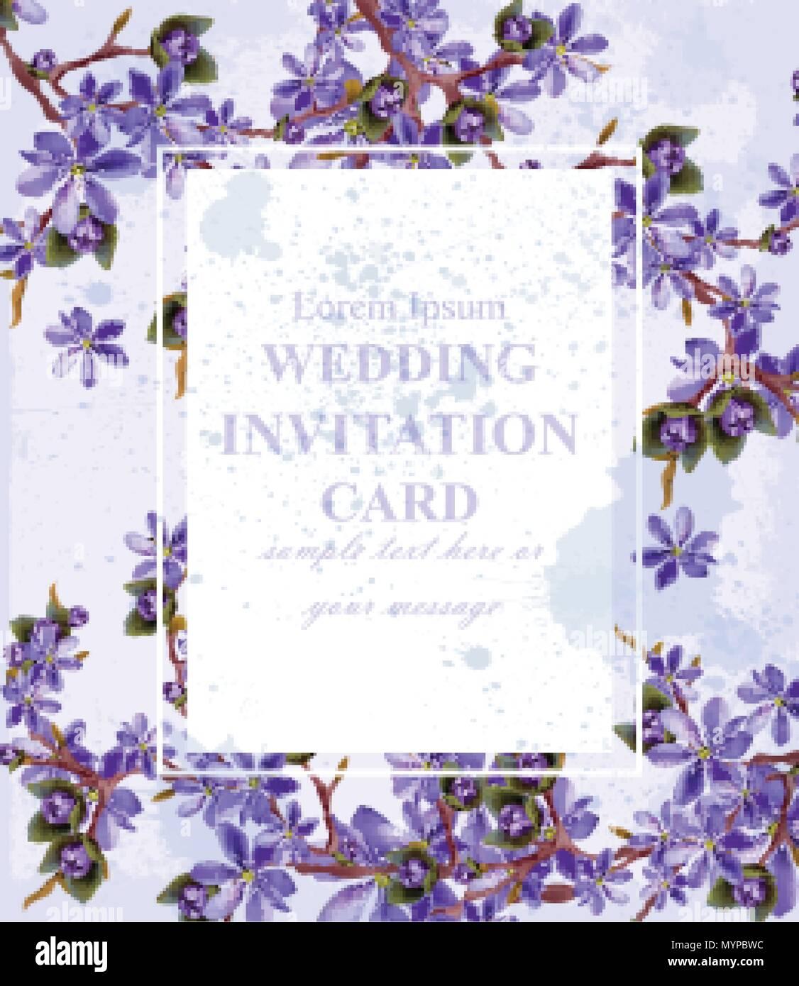 Hochzeit Einladungskarte Mit Lila Bluten Vektor Schone Rahmen