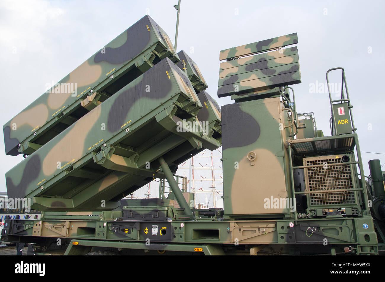 Ein anti-schiff und an Land Attack missile Naval Strike Rakete (NSM) entwickelt, die von der norwegischen Firma Kongsberg Defence & Aerospace (KDA), durch Coasta verwendet Stockfoto