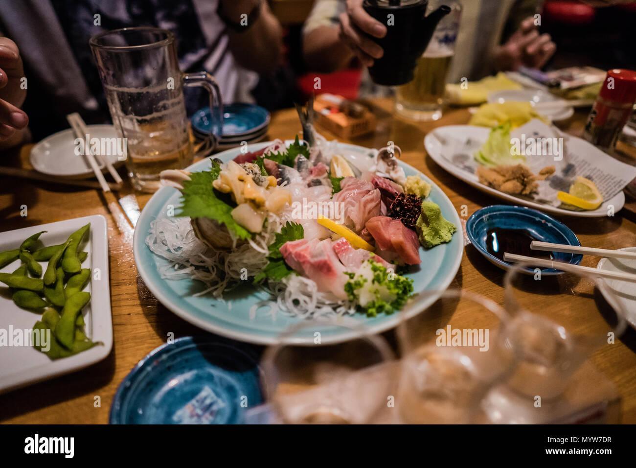 Sashimi in Japan Stockbild