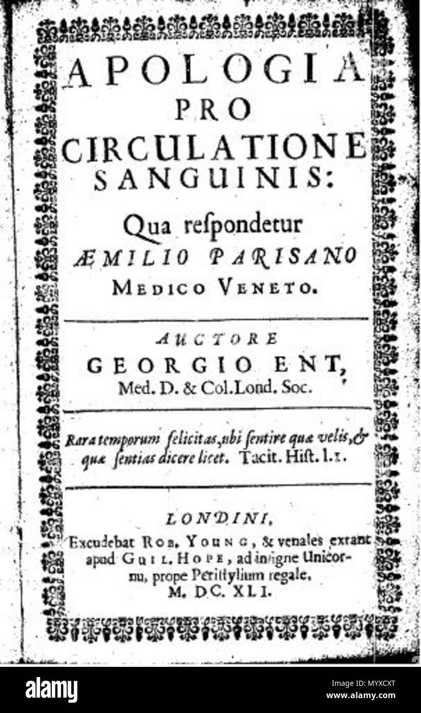 Englisch Deckblatt Von George Ent Der Apologie George Ent 11