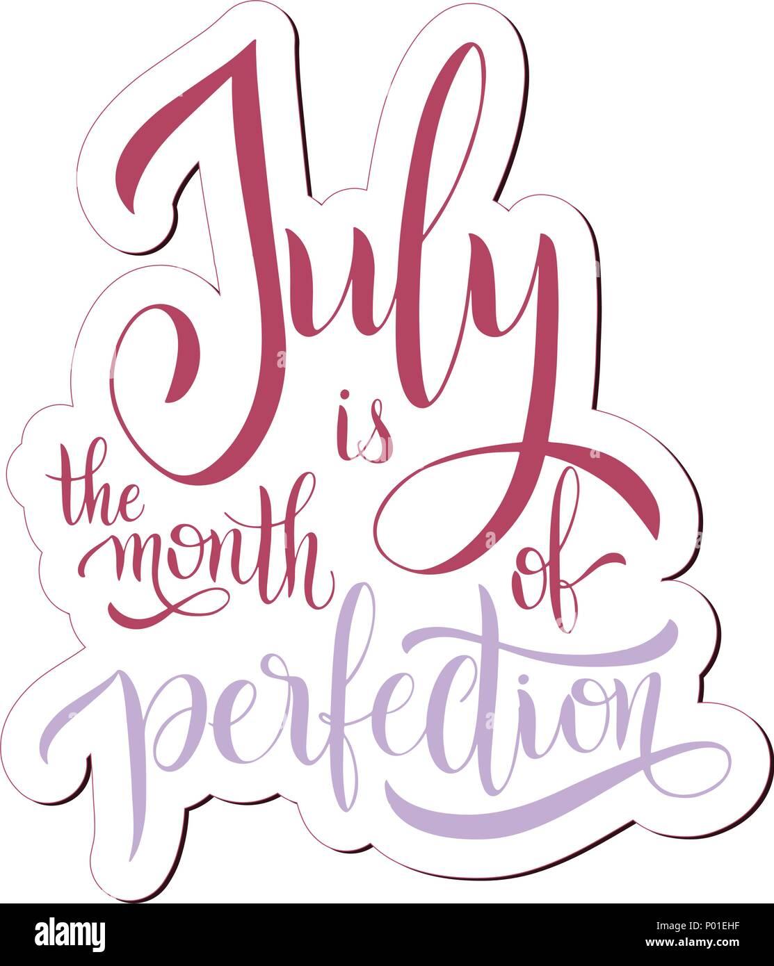 Der Juli ist der Monat der Perfektion. Hallo Juli Schriftzug. Elemente für Einladungen, Poster, Grußkarten. Seasons Greetings Stockbild