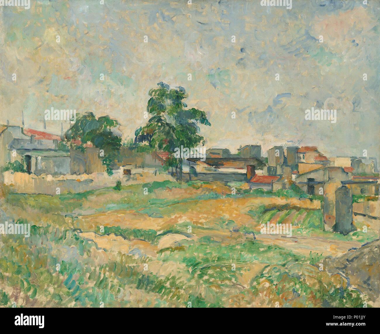 Malerei; Öl auf Leinwand; gesamt: 50,2 x 60 cm (19 3/4 x 23 5/8 in.) gerahmt: 70,5 x 81,3 cm (27 3/4 x 32 in.); 14 Landschaft in der Nähe von Paris ein -5210305 Stockbild