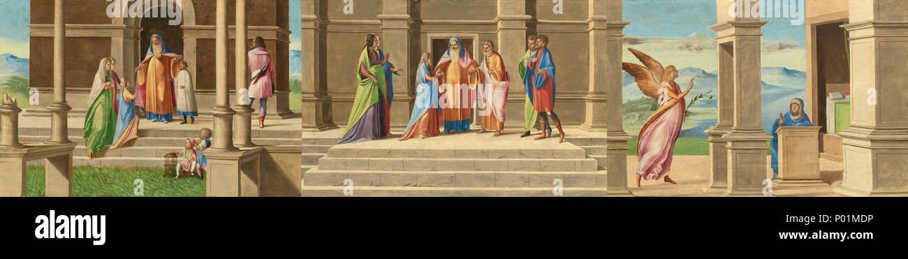 Malerei; Öl auf Leinwand; gesamt: 37,1 x 163,8 cm (14 5/8 x 64 1/2 in.) gerahmt: 48,7 x 175,3 x 7 cm (19 1/4 x 69 x 2 3/4 in.); 23. die Präsentation und Ehe der Jungfrau, und der Verkündigung eine 12138 Stockbild