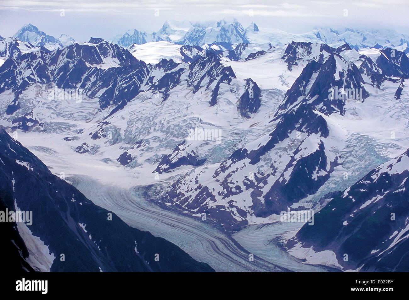 Gletscher im Yukon, tolle Landschaften, Schnee, Eis, Berge, Alaska Range, Yukon, Kanada Stockbild