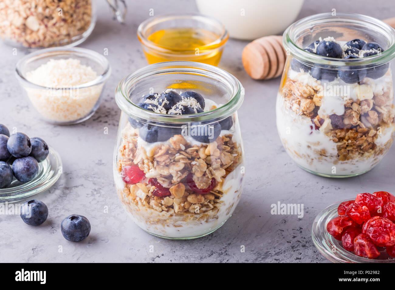 Gesundes Frühstück Glas Gläser Haferflocken Mit Frischem Obst