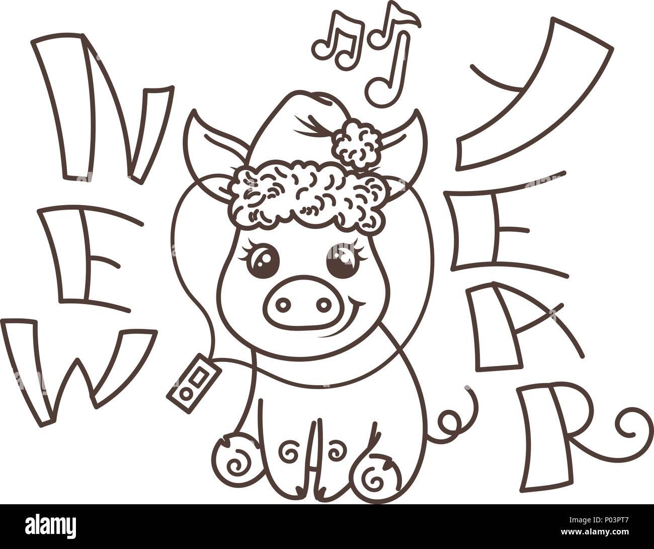 Fein Frohes Neues Jahr Färbung Seite Fotos - Malvorlagen Von Tieren ...