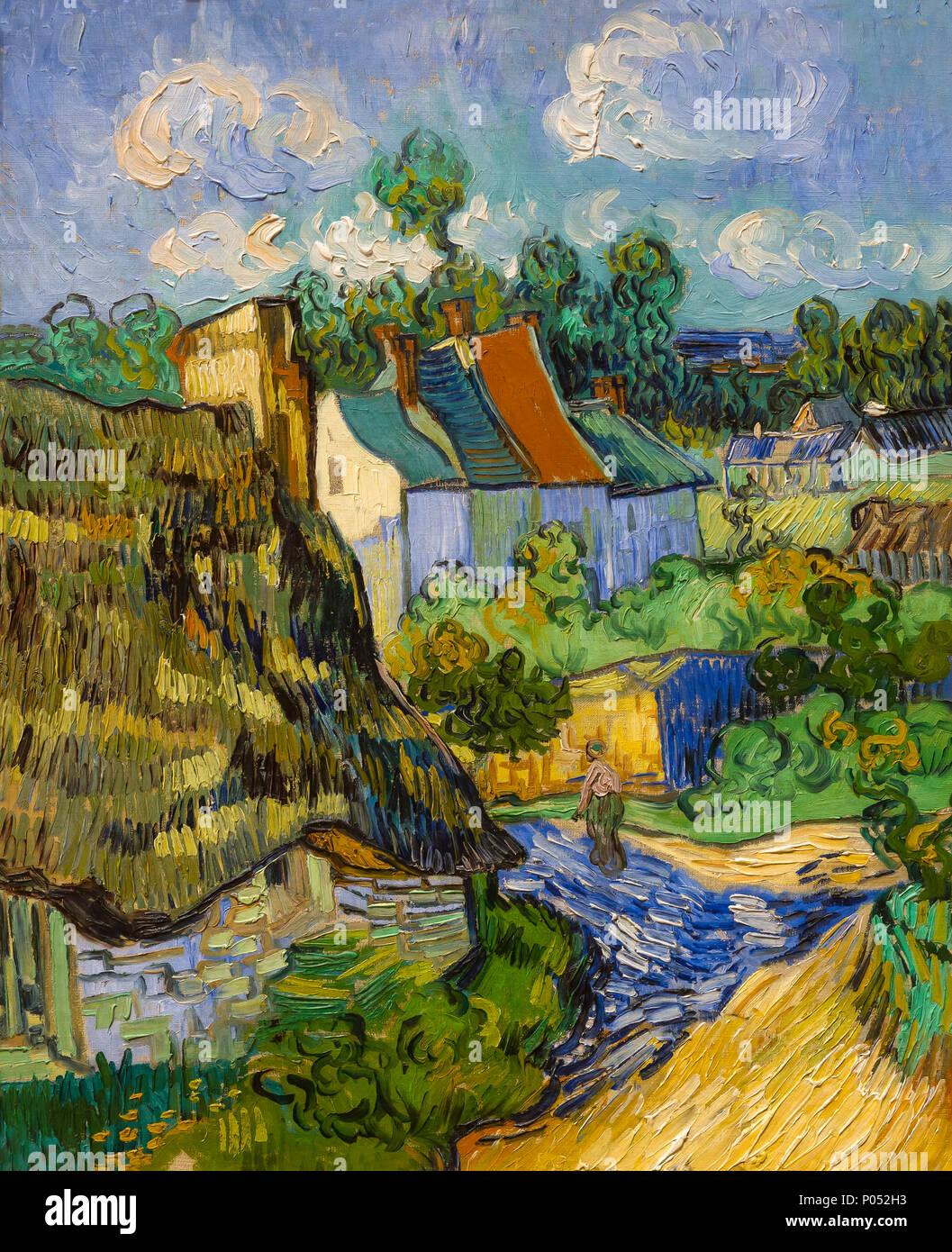 Häuser in Auvers, Vincent van Gogh, 1890, Museum der Bildenden Künste, Boston, Mass, USA, Nordamerika Stockfoto