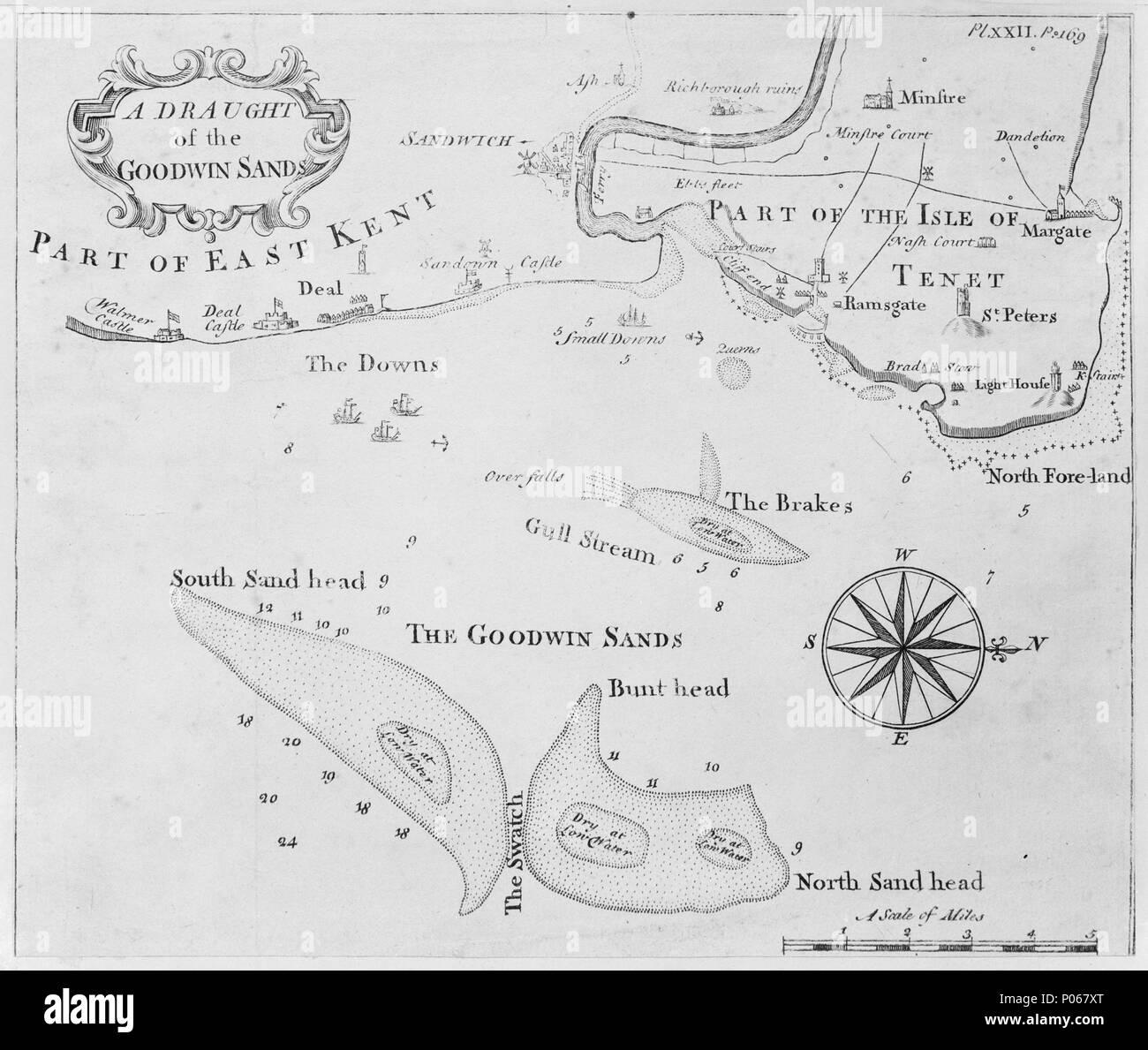 Englisch Einen Entwurf Der Goodwin Sands Pl Xxii P169 Maßstab 1