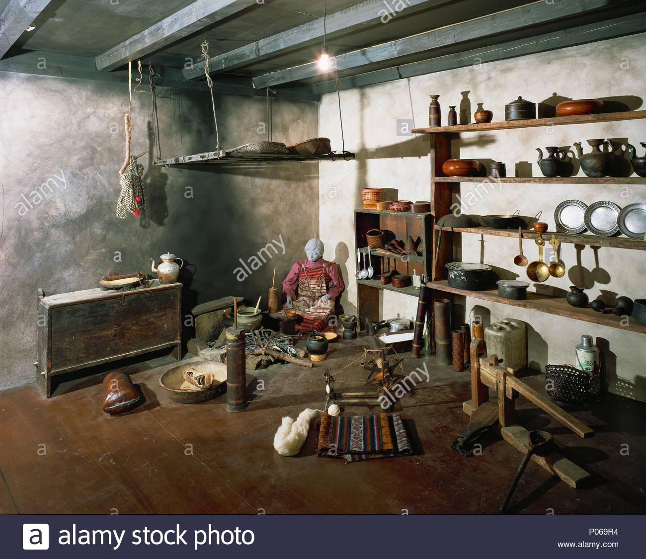 Wohnzimmer Kuche Eines Typischen Bhutan Bauernhaus Ohne