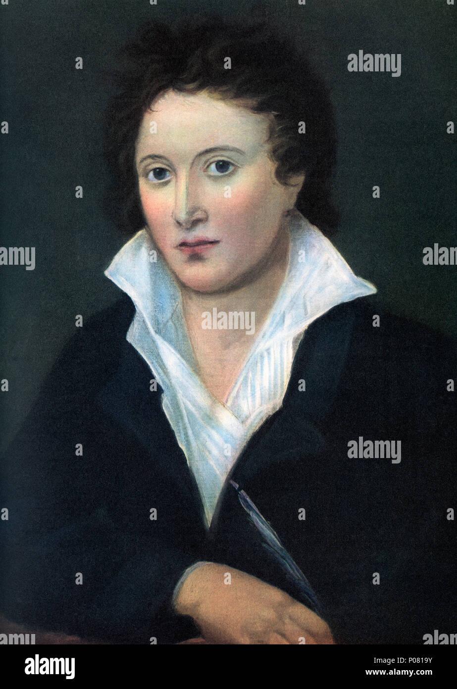 Percy Bysshe Shelley, 1792 - 1822. Englischer Dichter, Dramatiker, Essayist, Schriftsteller. Nach einer zeitgenössischen Print. Stockbild