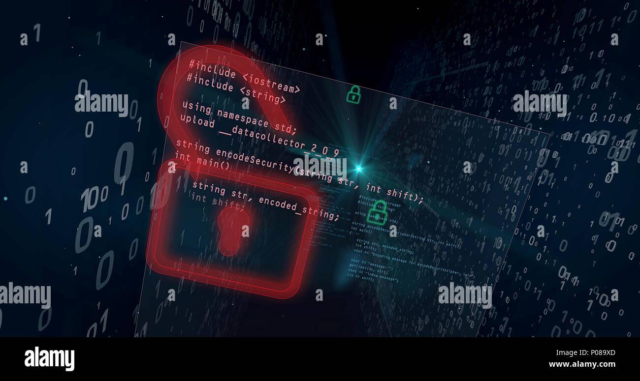 Cyber Security Verletzung auf digitalen Hintergrund Konzept. Öffnen Schlösser für den Zugriff auf Daten, Hacking. Stockbild