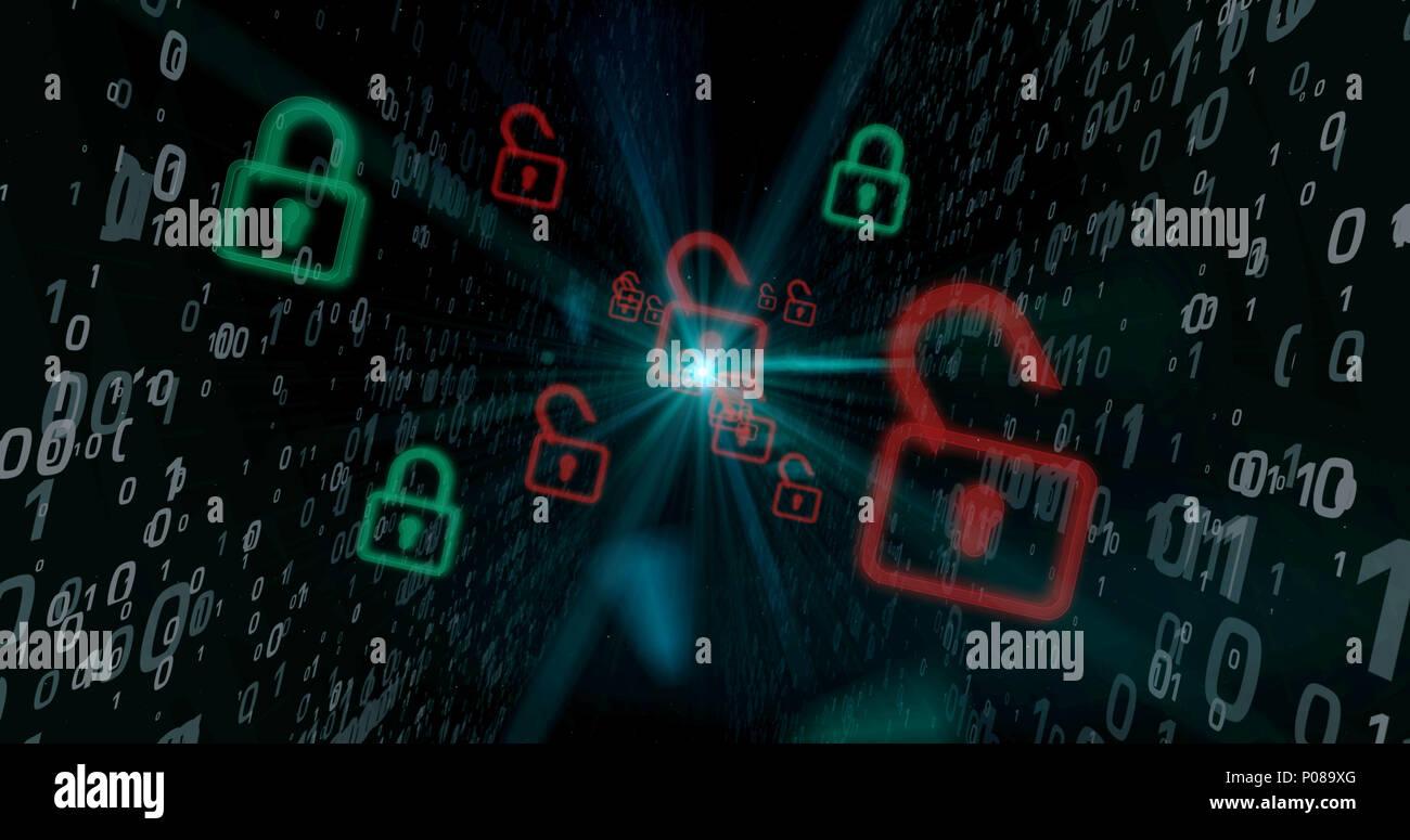 Rote Schlösser der Cyberspace digitalen Hintergrund. Computer Sicherheitsverletzung Konzept. Stockbild