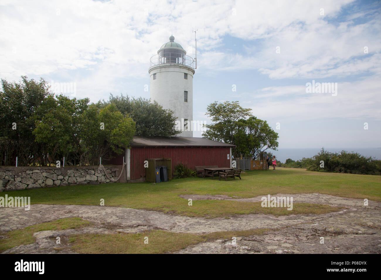 Leuchtturm auf der Insel Hanö Südschweden Stockbild