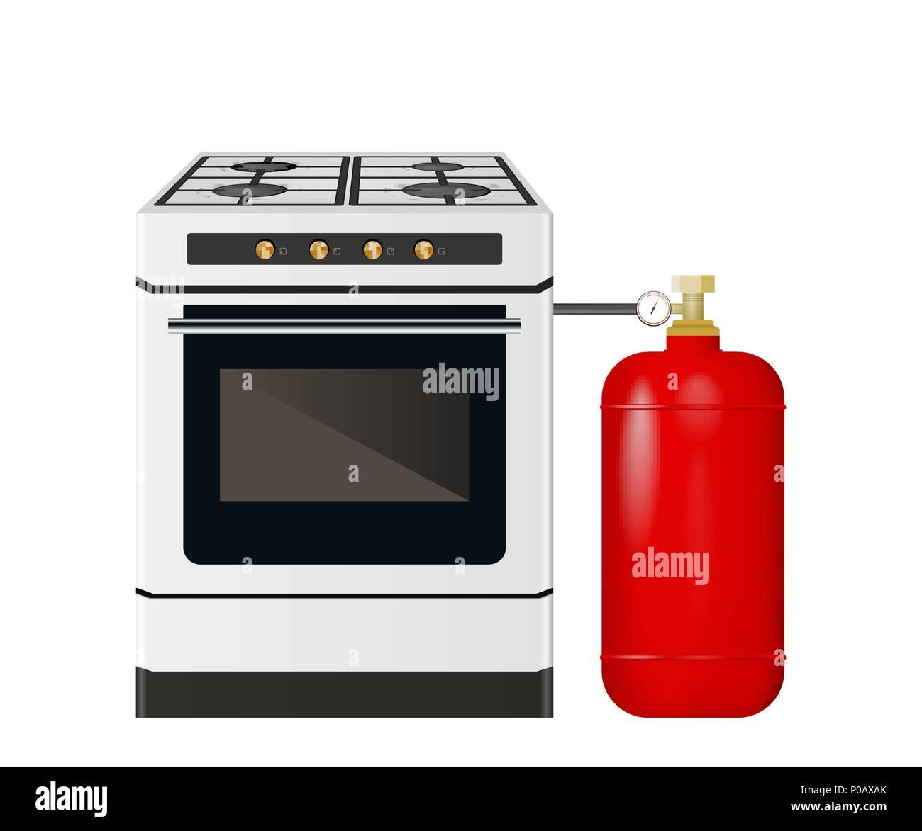 Fabulous Küche Herd mit einem roten Gasflasche Vektor Abbildung - Bild VS65