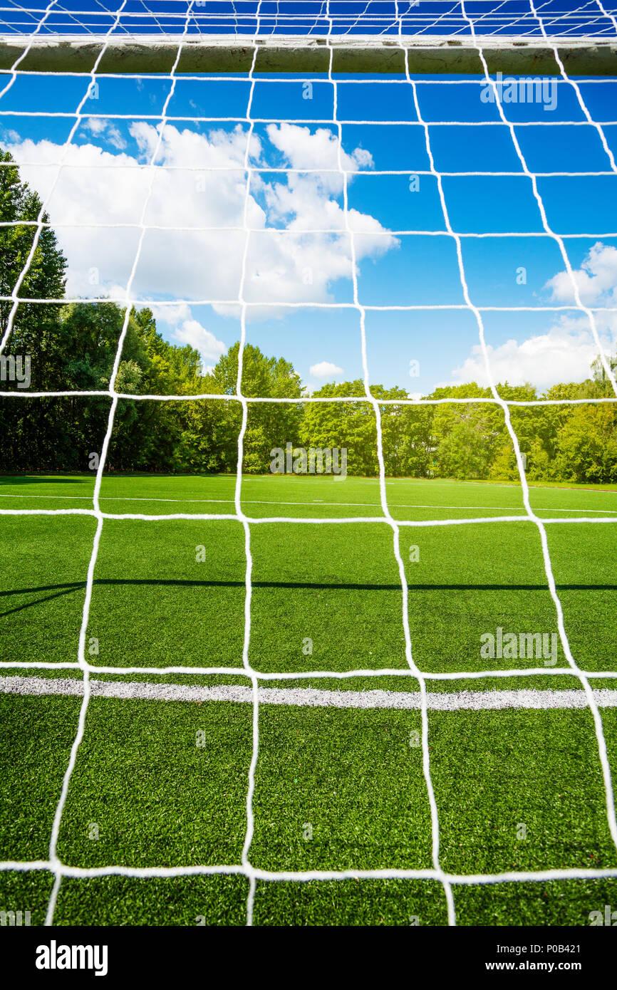 Fussball Net Und Das Fussballstadion Auf Hintergrund Auf