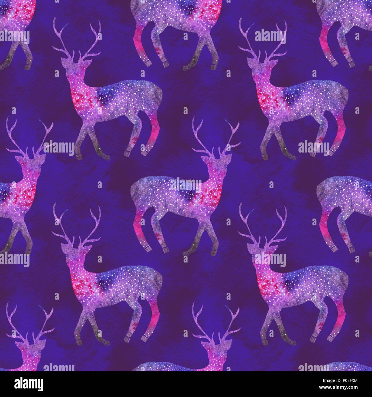 aquarell hirsche nahtlose muster mit kosmischen oder galaxy hirsche auf den tiefen ultra violett unterlegt handgezeichneten originale tier tapete - Galaxy Muster