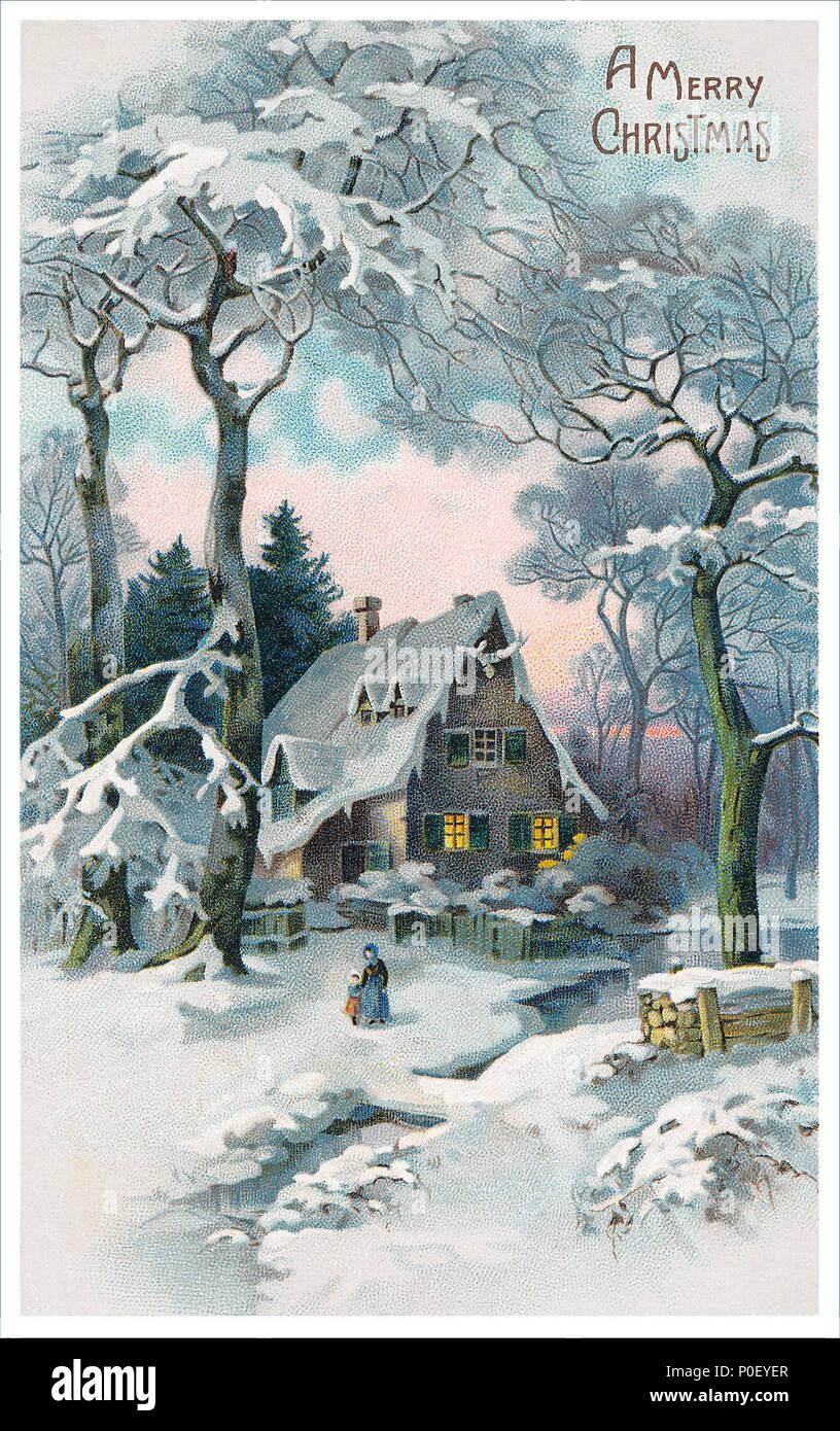 Vintage Bilder Weihnachten.Vintage Weihnachten Postkarte Stockfoto Bild 206853327 Alamy