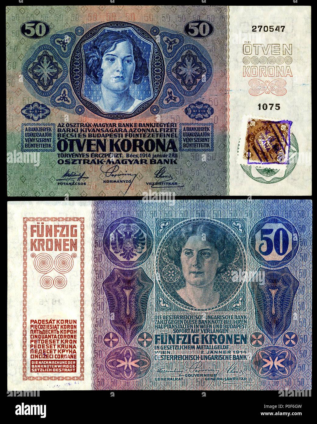 Englisch Republik Tschechoslowakei 50 Korun 1919 Vorläufige