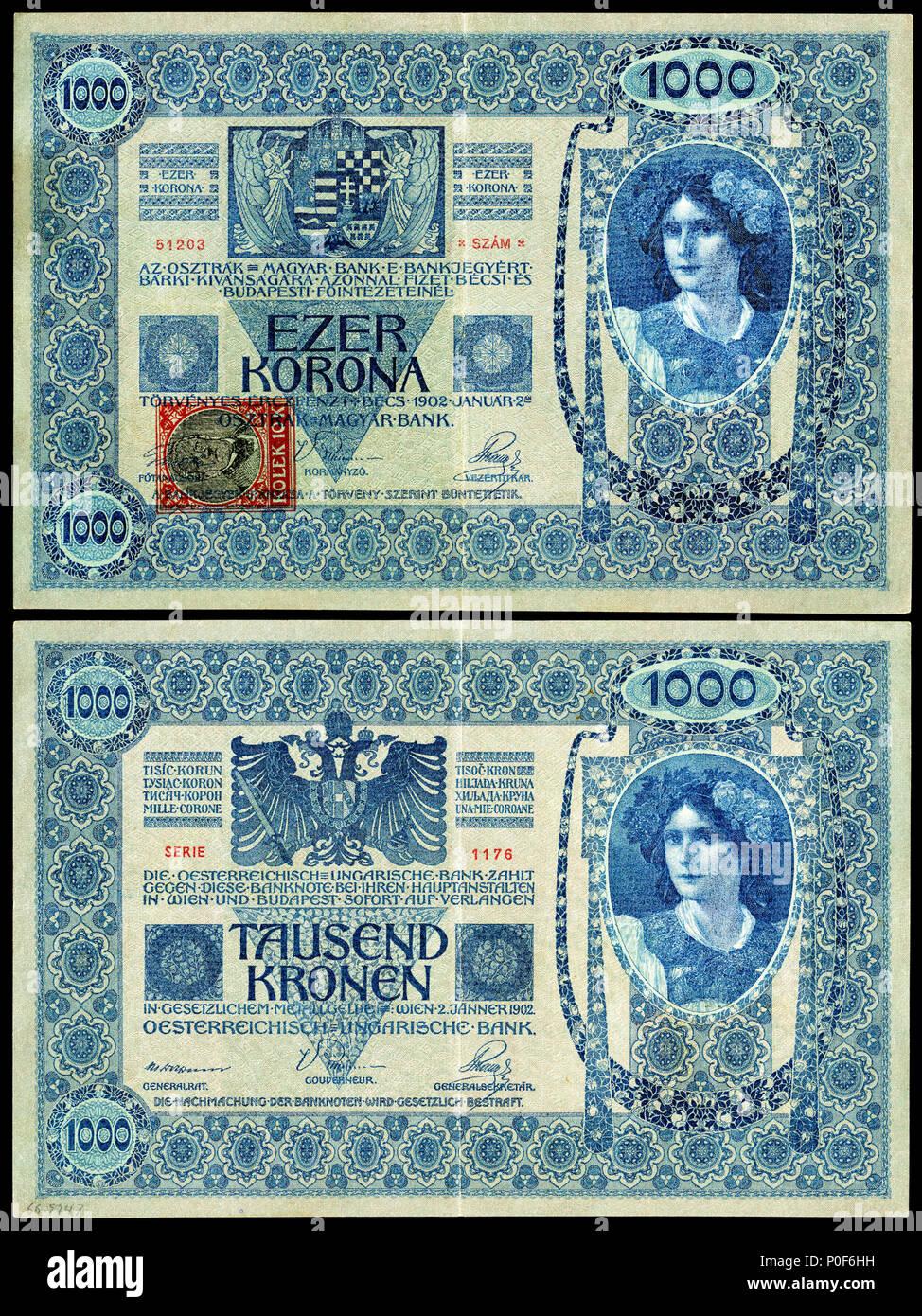Englisch Republik Tschechoslowakei 1000 Korun 1919 Vorläufige