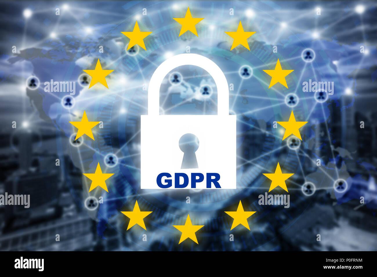 Datenschutz Datenschutz Konzept. Bipr. EU. Cyber Security Network. Vorhängeschloss und Internet Technologie Netzwerk Verbindung auf virtuellen Bildschirm. Stockbild