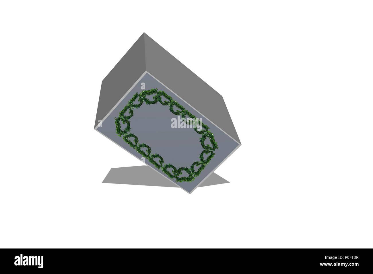 3D-Render von weißen Quader auf weißem Hintergrund Stockbild