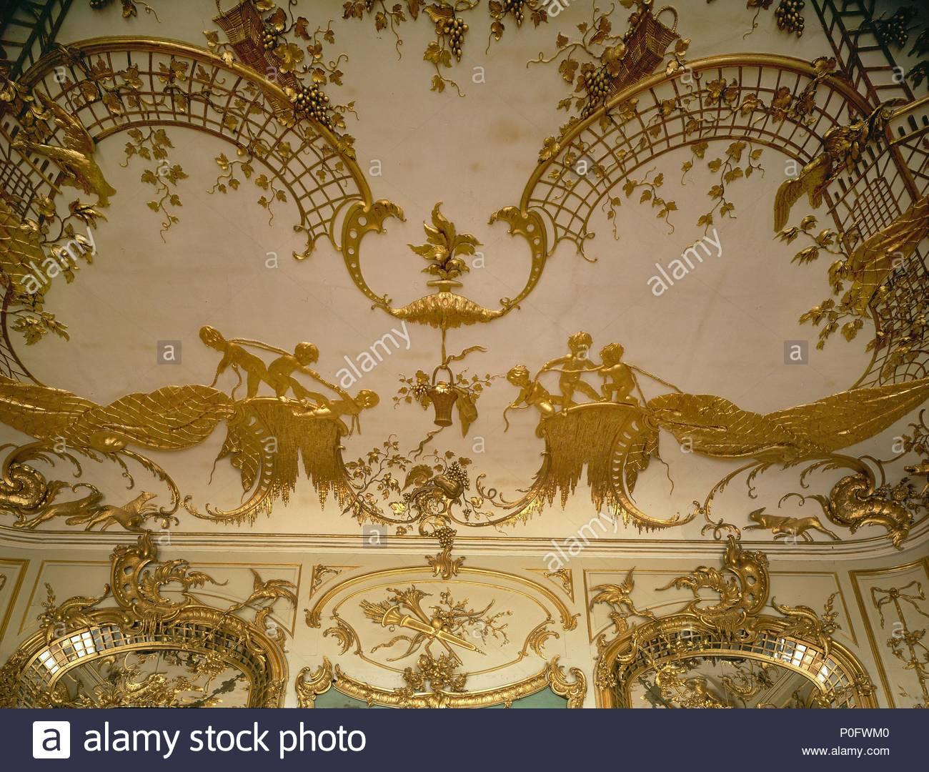 Detail Der Wand  Und Deckengestaltung, Neues Palais (Neues Schloss),  Schloss Sanssouci Gardens (1768). Ort: Palace Neues Palais, Potsdam,  Deutschland.