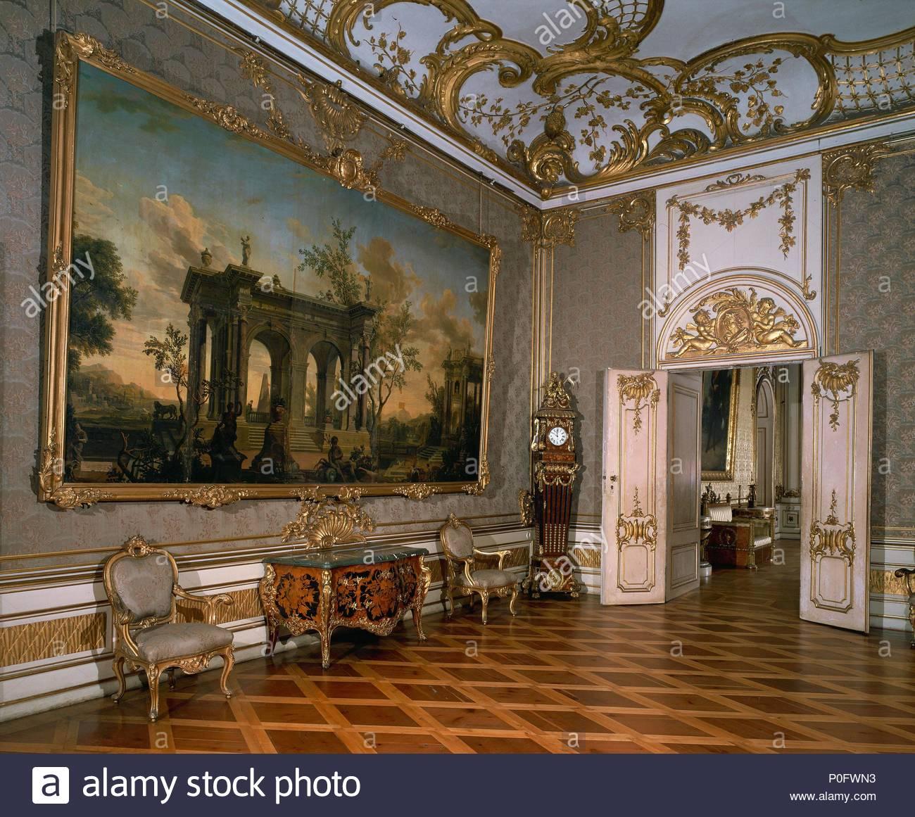 Green damask Zimmer, Neues Palais (Neues Schloss), Schloss Sanssouci ...