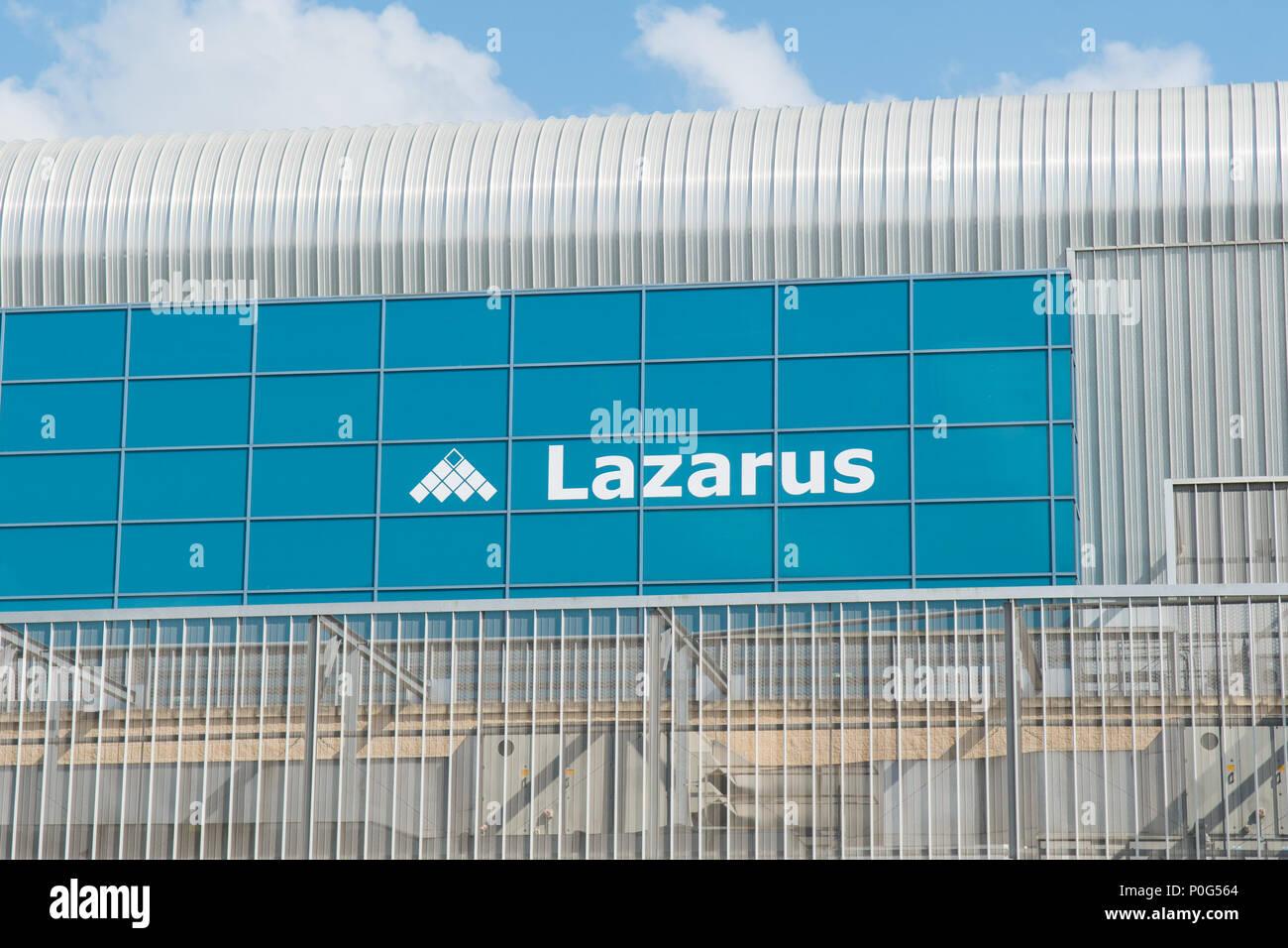Lazarus Eigenschaften unterzeichnen, Doncaster Racecourse, Doncaster, South Yorkshire, England, Großbritannien Stockbild