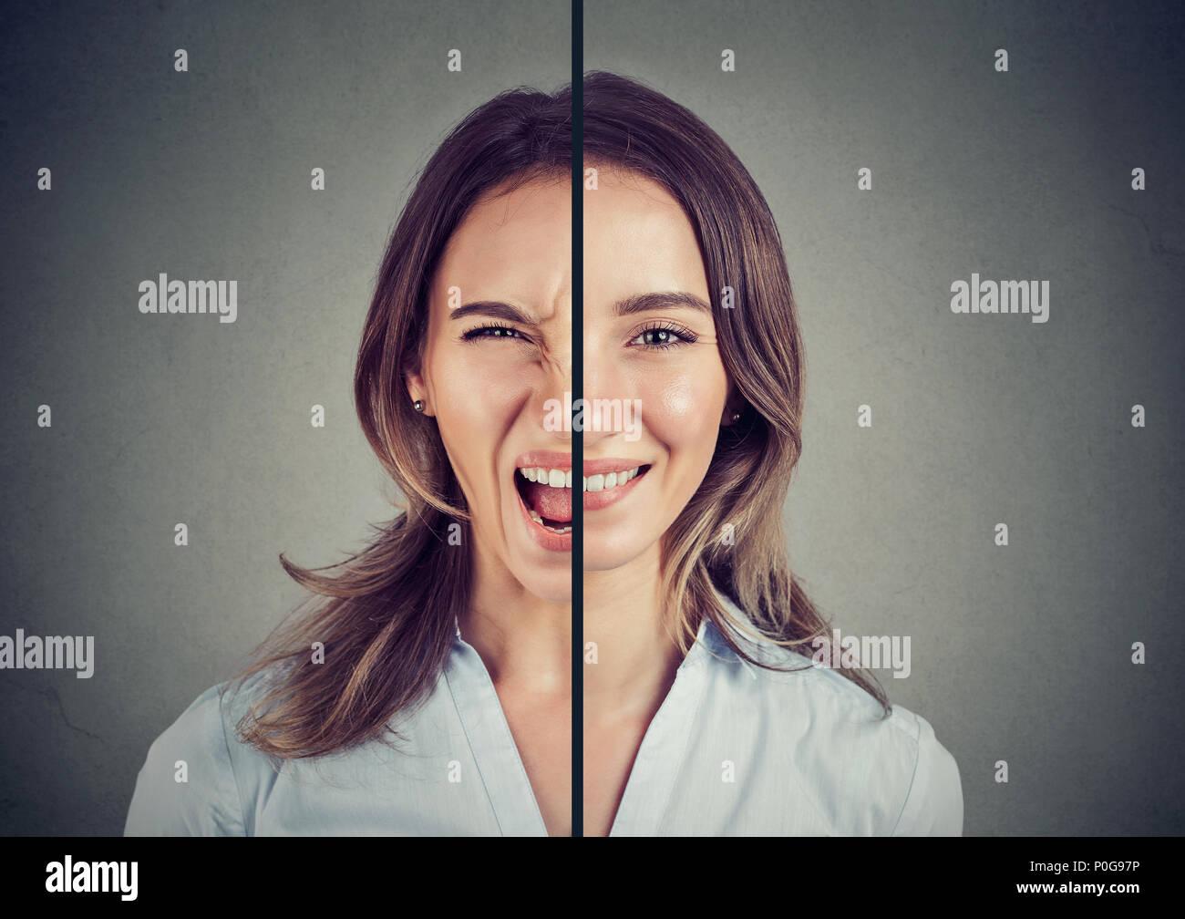 Bipolare Störung Konzept. Junge Frau mit einem Gesichtsausdruck auf grauem Hintergrund Stockbild