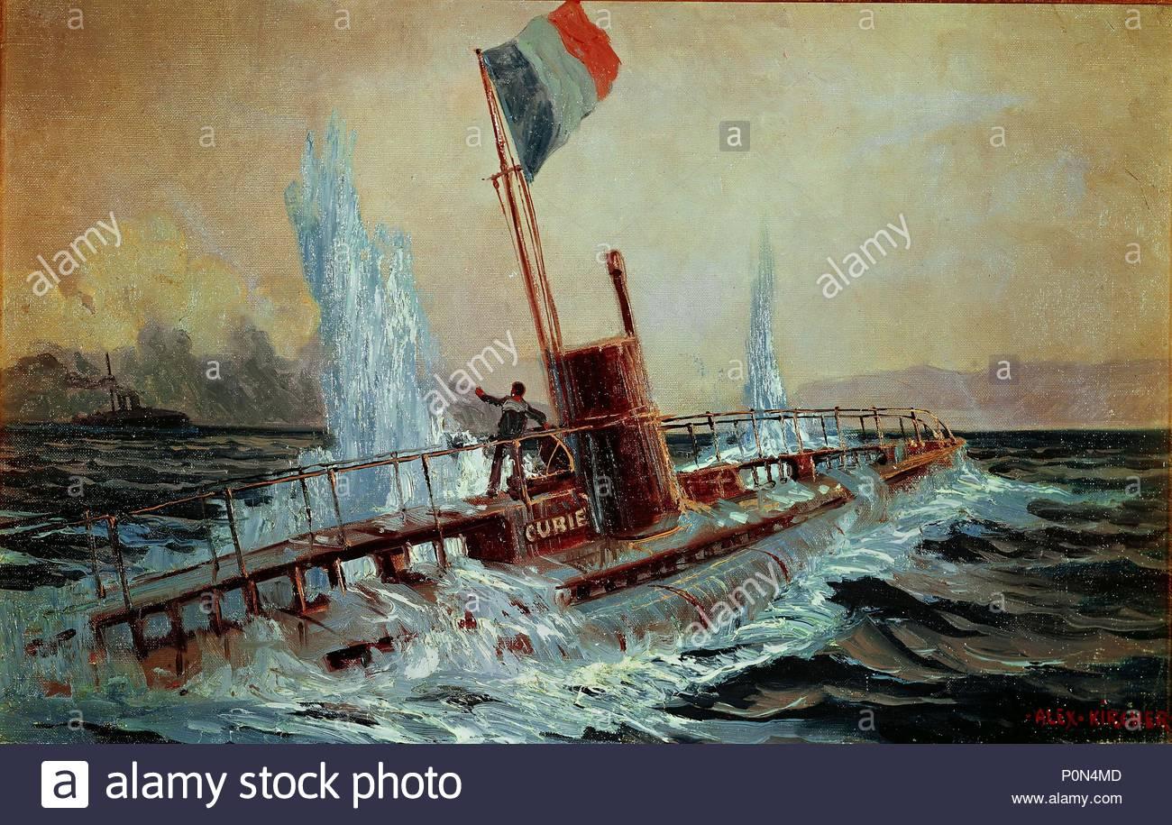 """Eine österreichische Schlachtschiff sinkt der Französischen u-Boot """"Curie"""". 1915. Autor: Kirchner, Alexander. Lage: Heeresgeschichtliches Museum, Wien, Österreich. Stockbild"""