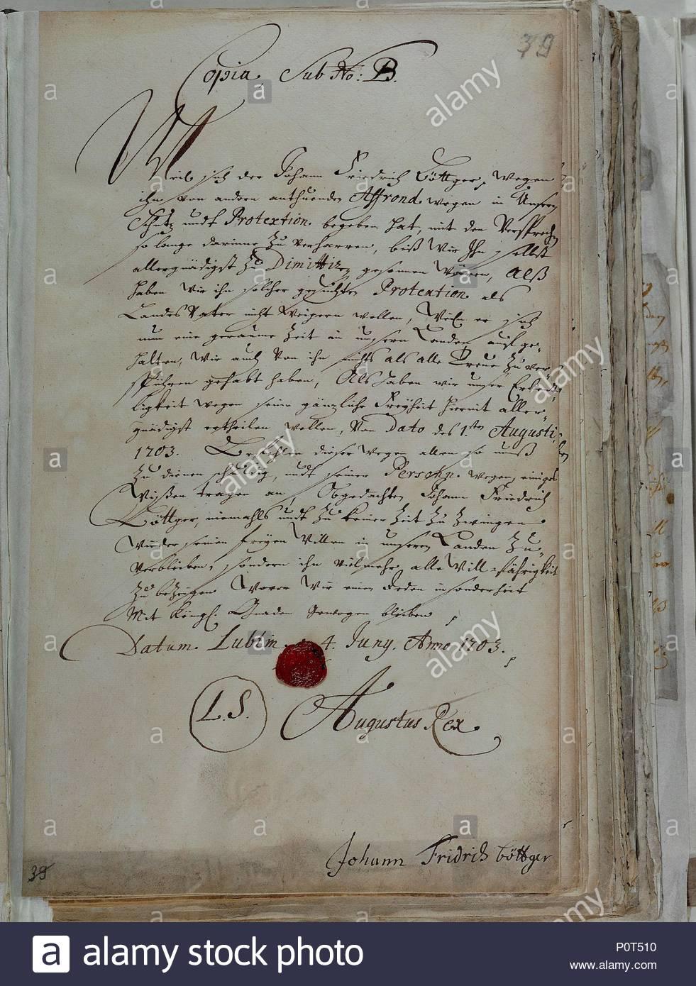 Brief Von König August Von Polen Kurfürst Von Sachsen Johann