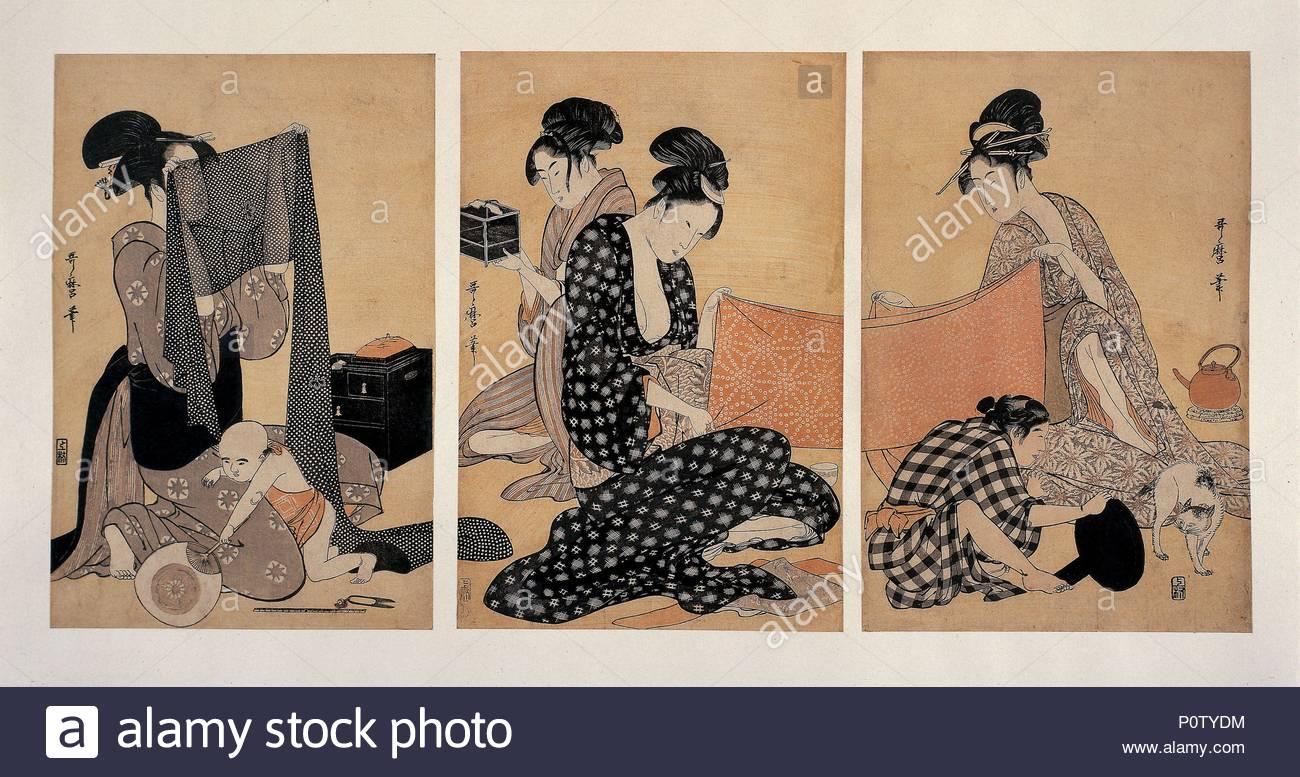 Frauen nähen, Edo Periode, Japan, c 1795 - c 1796. Eine Gruppe von ...