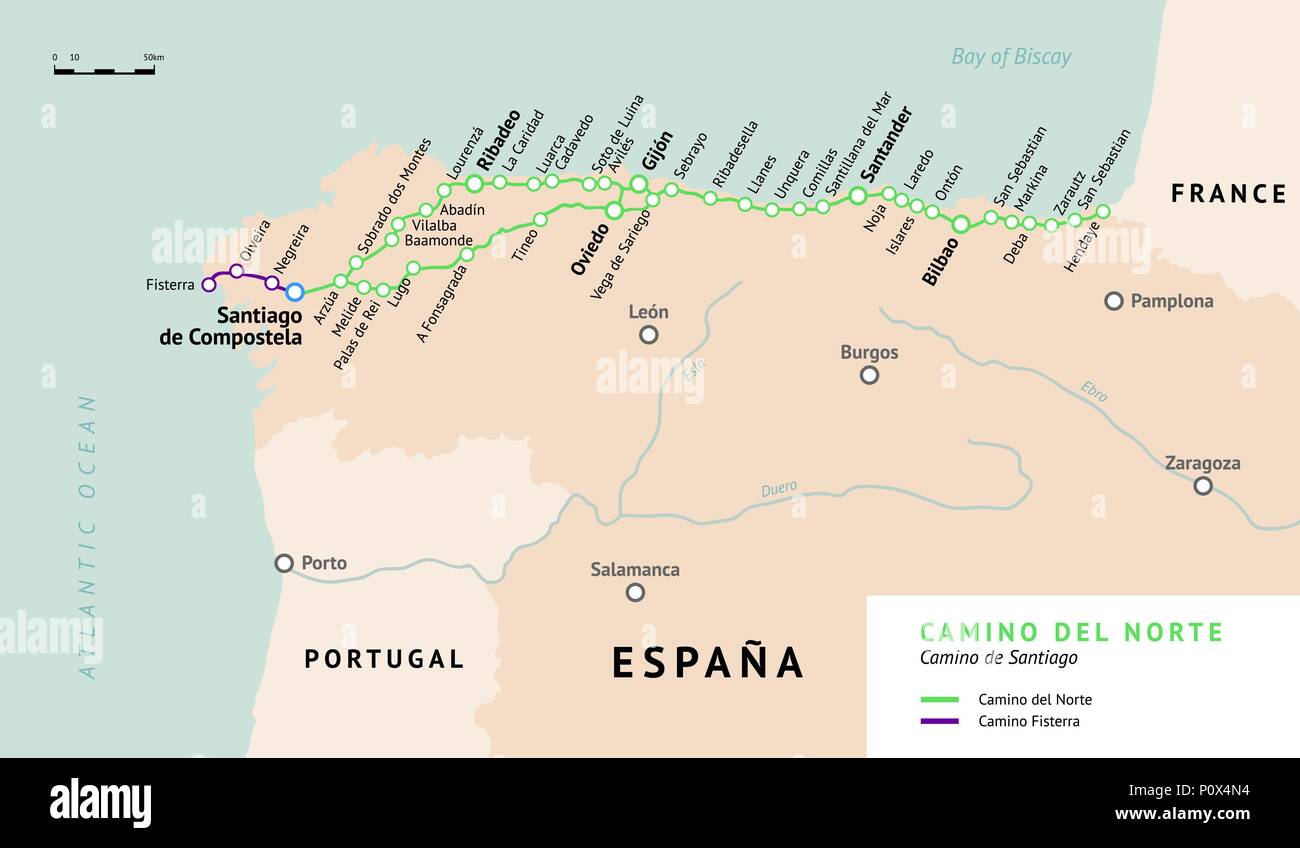 Jakobsweg Frankreich Spanien Karte.Camino Del Norte Karte Camino De Santiago Oder Dem