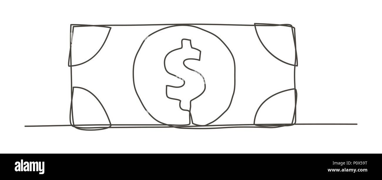 Geld Eine Linie Zeichnen Vektor Abbildung Bild 207099364 Alamy