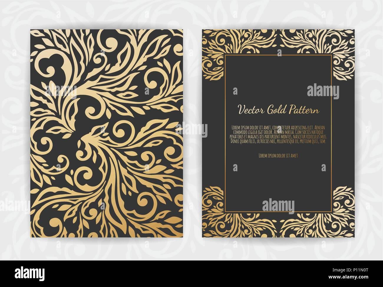 gold grußkarte auf schwarzem hintergrund. luxus ornament schablone