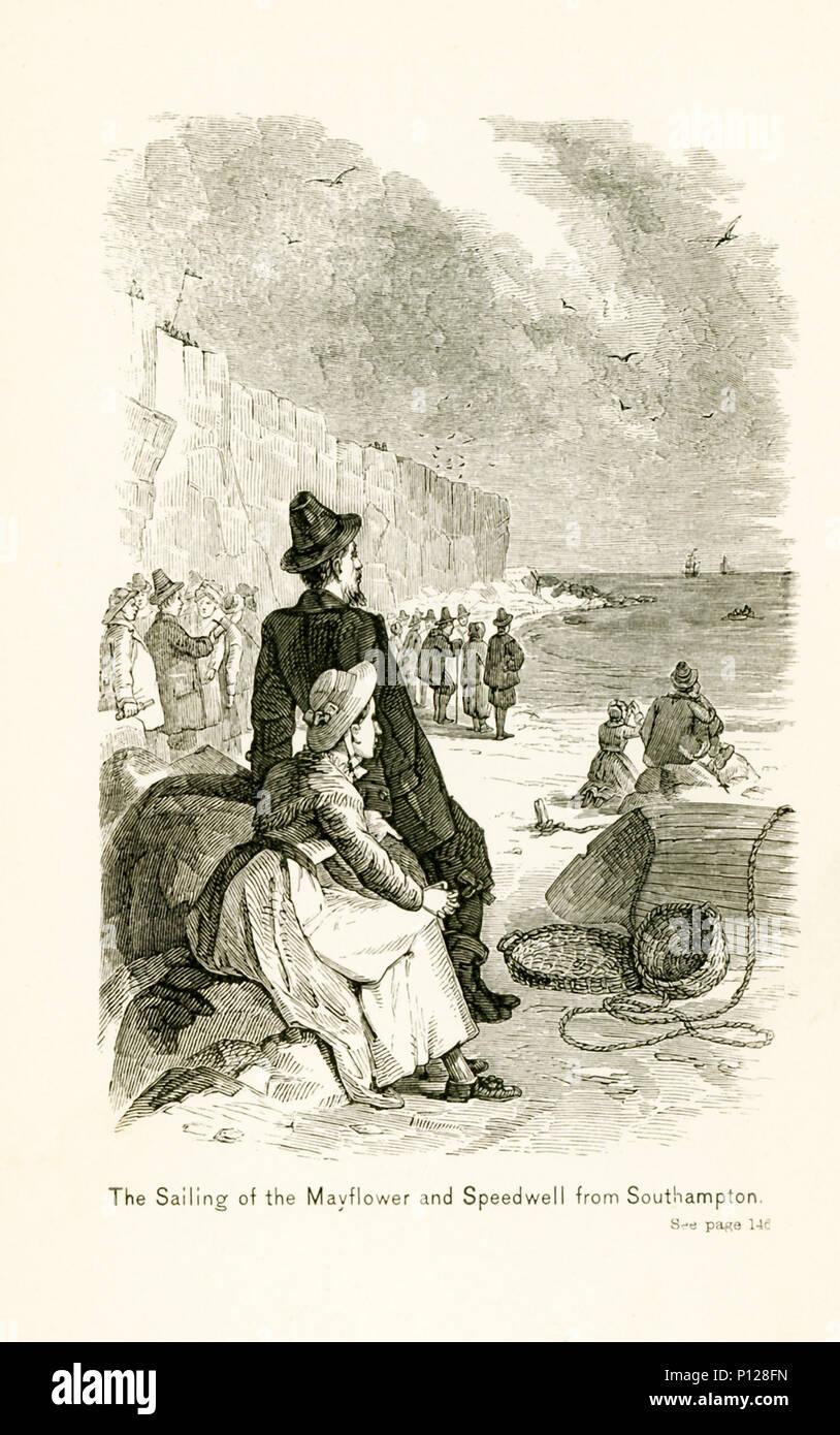 Die Bildunterschrift lautet: Das Segeln der Mayflower und Speedwell von Southampton. Southampton ist eine Hafenstadt im Süden von England. Beide Schiffe links im Jahre 1620, für die Neue Welt, aber die Speedwell gefunden zu nehmen auf Wasser, und nach Reparaturen weiterhin so zu tun ist und so nicht in der Lage war zu fahren. Die Mayflower segelte über den Atlantik und in Massachusetts gelandet. Stockbild
