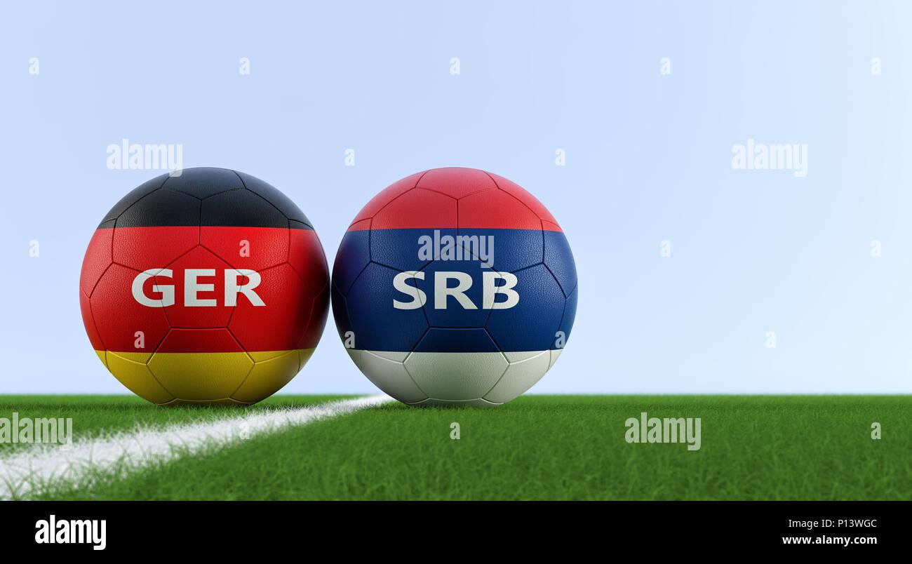 Deutschland gegen Serbien Fußball Match - Fußball-Kugeln in ...