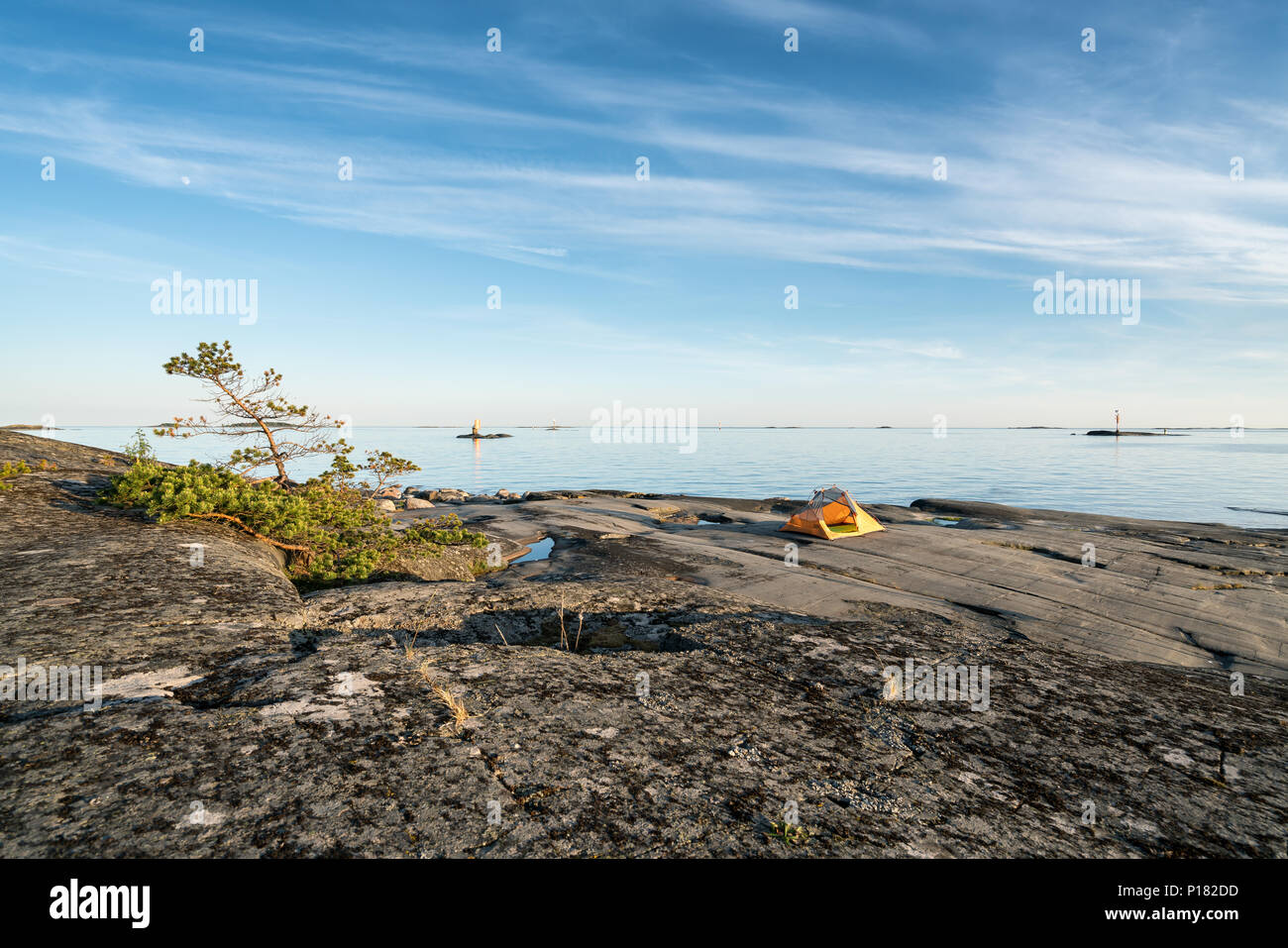 Camping am Glosholmen Insel Archipel, Porvoo, Finnland, Europa, EU Stockbild