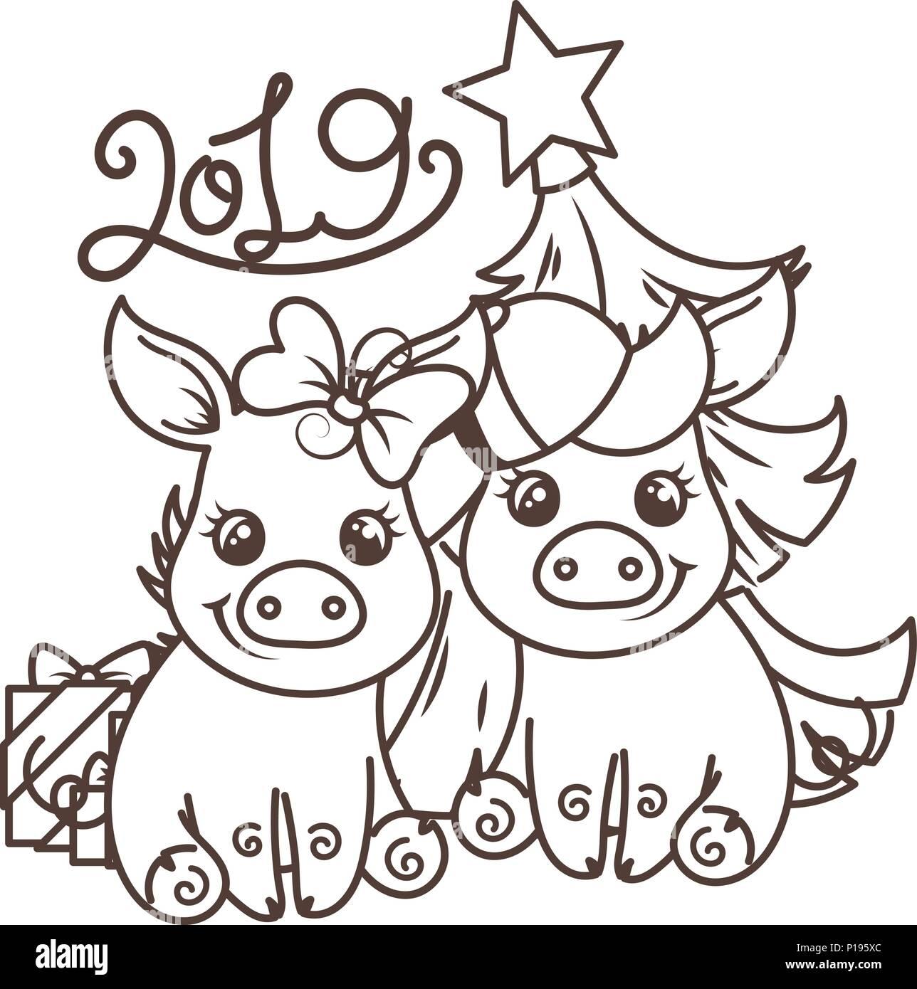 frohes neues 2019 jahr karte mit cartoon baby schwein