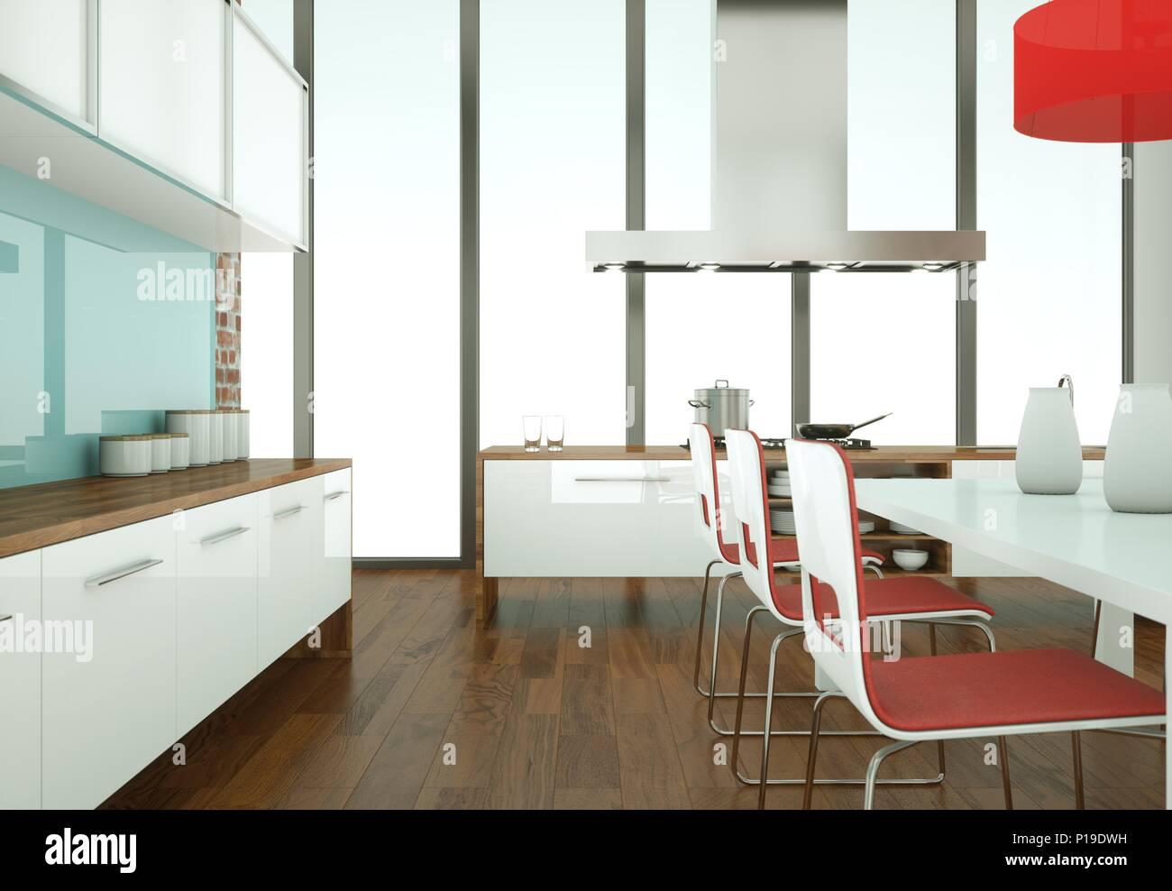 Schone Moderne Kuche Mit Tisch Und Stuhlen Klingeln Stockfoto Bild