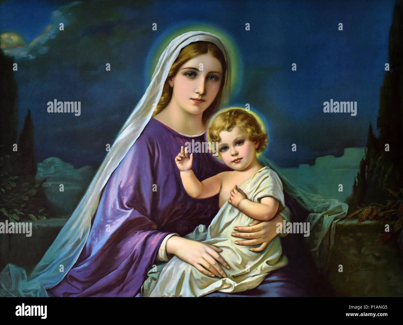 Moonlight Madonna, Madonna mit Kind, moonlight, Reproduktion, original von Giovanni Bellini, 15. Jahrhundert, italienischer Maler, Venedig,, Mondschein-Madonn Stockbild