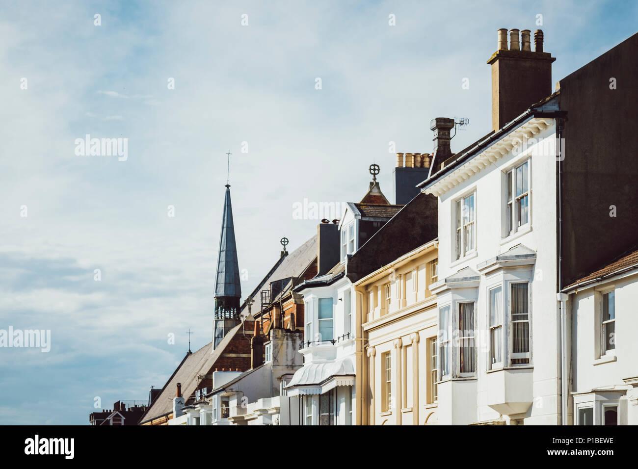 Britische Architektur, Fassaden, Schornsteine, Brighton, England Stockfoto