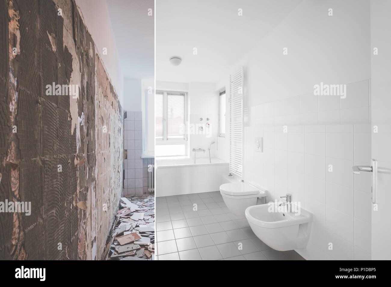 Gefliestes Badezimmer Renovierung - vor und nach der Restaurierung ...
