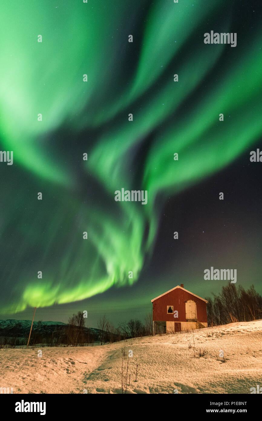 Nordlichter über die Stønesbotn bei Nacht, Senja, Norwegen Stockbild