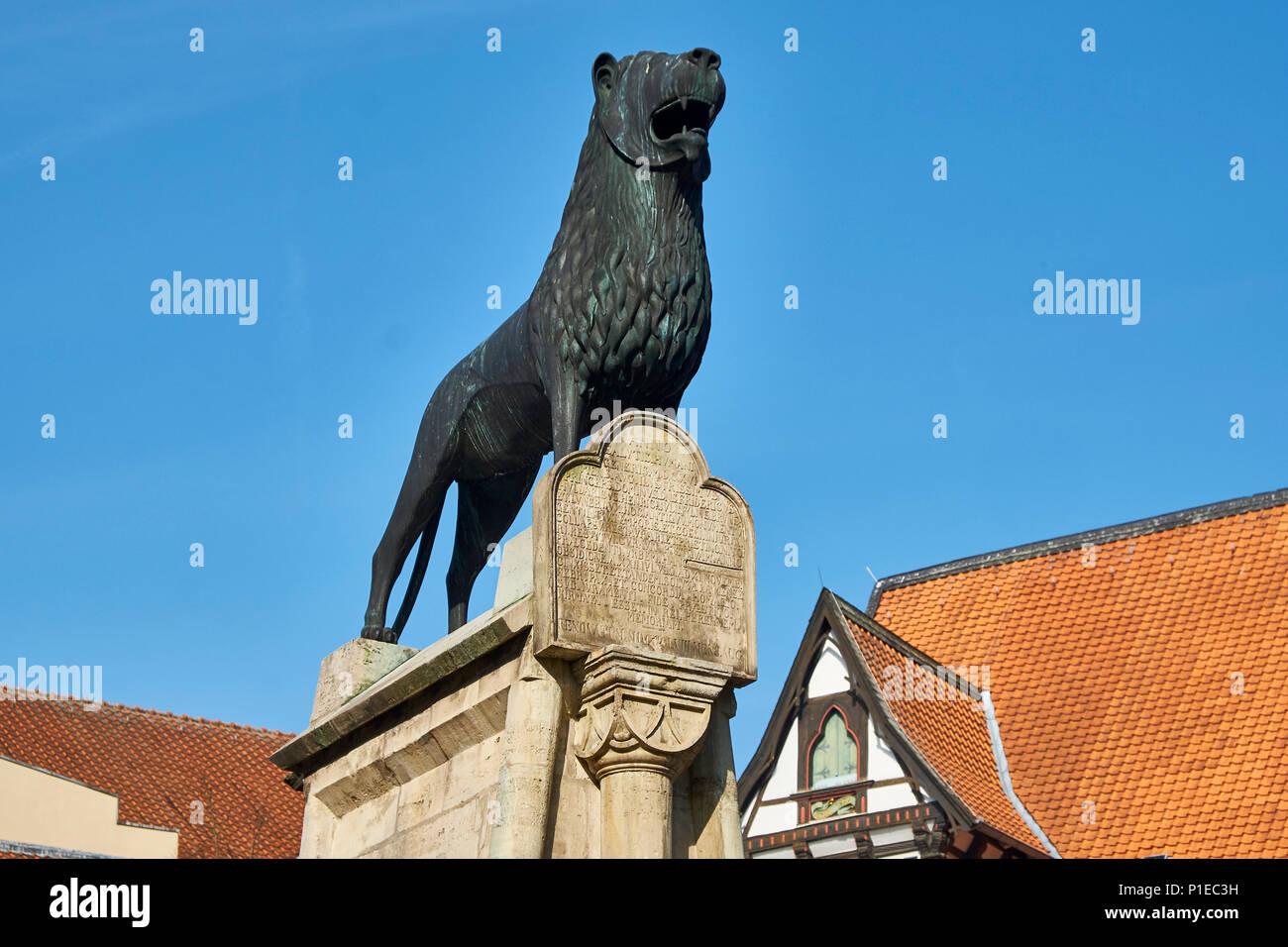 Braunschweig Lion am Burgplatz, Braunschweig, Niedersachsen, Deutschland Stockbild