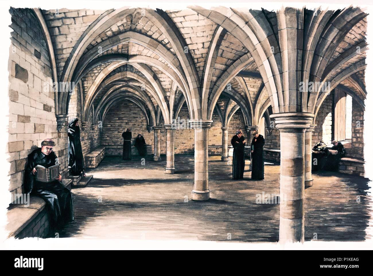 Mönche in den gemeinsamen Raum der Battle Abbey, East Sussex, 12. Jahrhundert (c 1990 - c 2010). Wiederaufbau Zeichnung. Stockbild